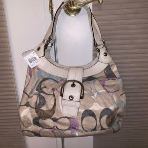 Coach Monogram Fabric Hobo Bag